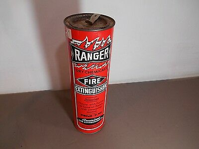 Vintage  RANGER Dry Chemical Fire Extinguisher Metal Tin Pry Off Lid