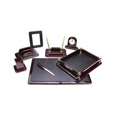 Desk Set Office Piece New Holder Pen Black And Executive Leather Organizer Tray