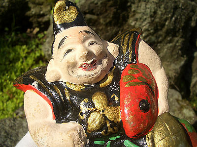 Japanese antique clay doll Seven Deities of Good Fortune with red-snapper #10122