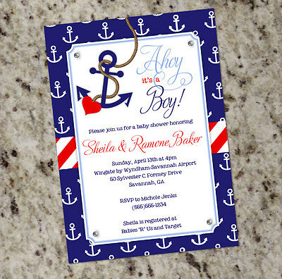 Ahoy its a boy nautical themed baby shower invitations with nautical themed baby shower invitations with anchor print filmwisefo