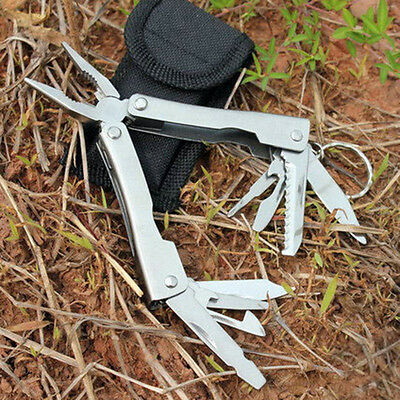 9 In 1 Stainless Steel Outdoor Survival Multi Tool Plier Portable Compact Pocket