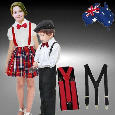 Kid Boys Girls Red Black Elastic Suspenders Braces Ajustable Suspender CSUSP06