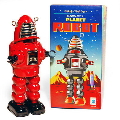 ROBOT ROBBY STYLE SPACE - Retro Tin Collectable Ornament - Red TMS430R