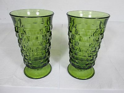 "(2) Vintage Colony Whitehall Avocado Green Cube Footed Water Glasses 6"" Tall VGC"