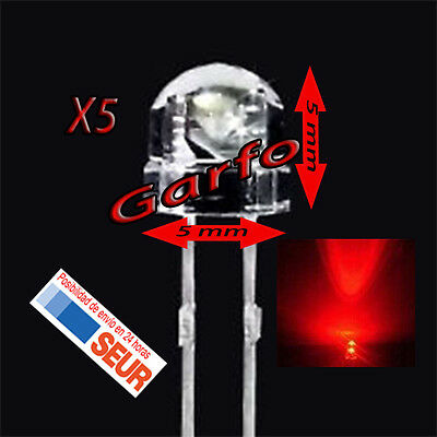 5X Diodo LED 5x5 mm Rojo 2 Pin alta luminosidad