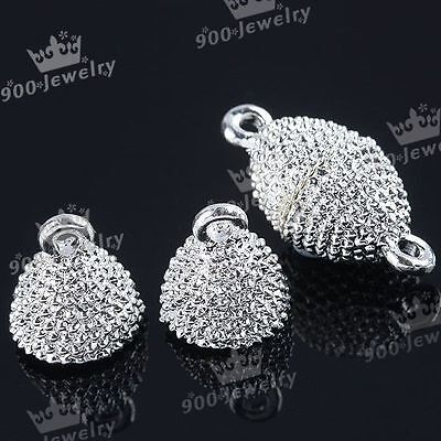 5 Sets Silvery Oval Magnetic Clasps Connectors For Jewelry Making DIY 8x12.5mm