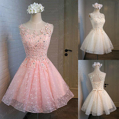 New Short Lace Party Prom Homecoming Cocktail Gown Bridesmaid Dresses STOCK 6-20