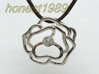 14K White Gold 925 Silver Rose Pendant Clasp Pearl Bail Pin DIY Jewelry Setting