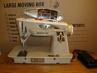 VINTAGE  SINGER 503A SEWING MACHINE, METAL GEAR,LEATHER,FULLY SERVICED