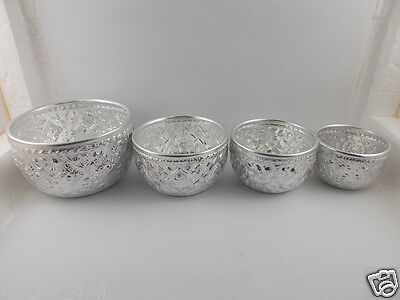 TRADITIONAL VINTAGE ANTIQUE ASIAN BOWL ALUMINUM THAI WATER DIPPER SILVER 4 PC