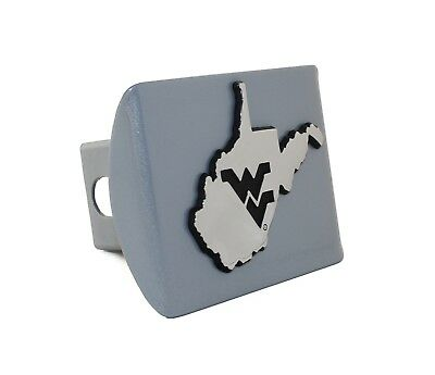West Virginia State Shape Silver Metal Hitch Cover