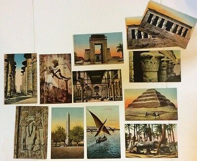 Antique Lot Of Egyptian Postcards From Cairo Memphis Karnak Pyramids EGY3