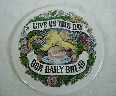 VINTAGE CERAMIC CURRIER & IVES TRIVET Give us this day our daily bread Cork back