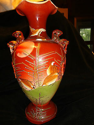 Antique Hand Painted Birds Foo Dog Fu Dog Lion Handled Moriage Enamel Red VASE