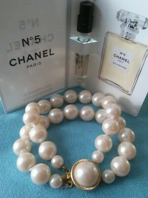 Vintage Creamy White Pearls and Chanel No. 5 Perfume Sample