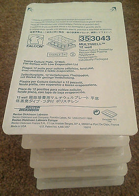 NEW! BD Falcon Corning 353043, 12 Well Tissue Culture Plate 3.8cm2 6ml QTY 5