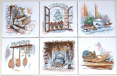 """Kitchen with Hearth Ceramic Tile Mural accents 6 of 4.25"""" Kiln Fired Back Splash"""