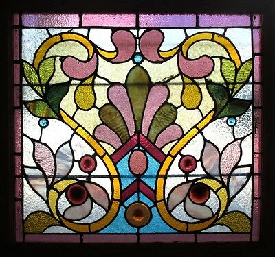 ~ EXTRAORDINARY ANTIQUE AMERICAN STAINED GLASS WINDOW 34 x 32 ~ SALVAGE ~