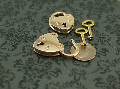 Old  Vintage Antique Style  Mini Padlocks Gold With 1  Key (Lot of 2)