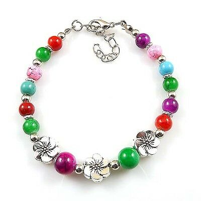 Free shipping New Tibet silver multicolor jade turquoise bead bracelet S12