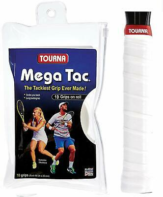 Tourna Mega Tac XL  - White - Pack of 10 Overgrips - Tennis
