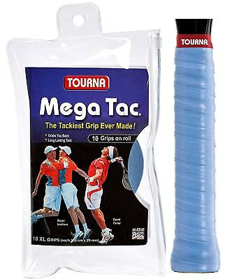 Tourna Mega Tac XL  - Blue - Pack of 10 Overgrips - Tennis - Free P&P