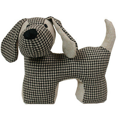 JVL Cute Dudley Dog Pet Animal Fabric Door Stop Check Weighted  26x17x25cm