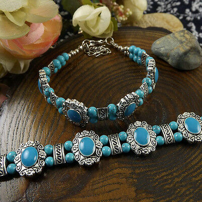 NEW HOT Free shipping New Tibet silver blue jade turquoise bead bracelet S90