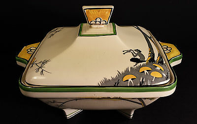 STUNNING BURLEIGH WARE SERVING TUREEN IN THE PAN DESIGN CLASSIC ART DECO STYLE