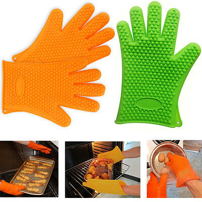 Silicone Gloves Cooking Kitchen Heat Resistant Oven Pan BBQ Holder Hand Safety