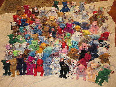 Huge Lot Of 100 Beanie Babies Bears-Rare Retired-