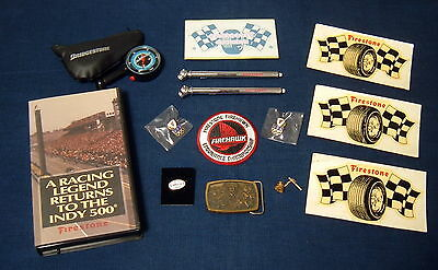 Lot of Firestone Tire Advertising Collectables, pin, patch, tire gauge, buckle