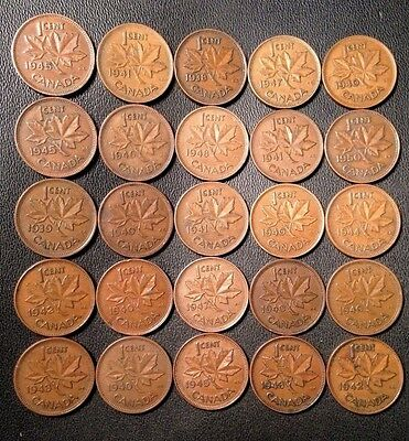Old Canadian Penny Lot - KING GEORGE VI - 1937-1952 - 25 COINS - FREE SHIPPING!!