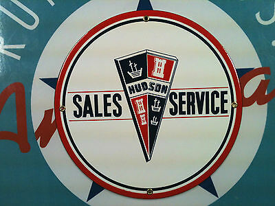 HUDSON SALES & SERVICE - Porcelain Plated Metal Sign  Shiping Discounts