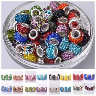 5pcs New 12mm Crystal Rhinestone Silver Plated Charm Loose Spacer Big Hole Beads