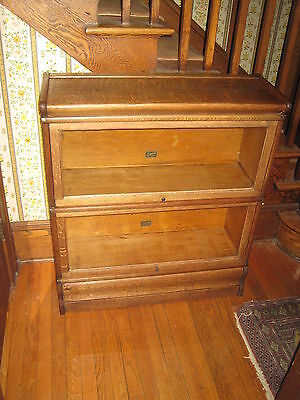 Antique Stacking Bookcase Barrister Oak Two Sections Hales, NY