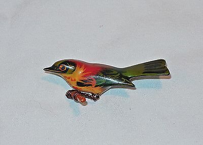 VTG TAKAHASHI WOOD CARVED HAND PAINTED BIRD PIN BROOCH