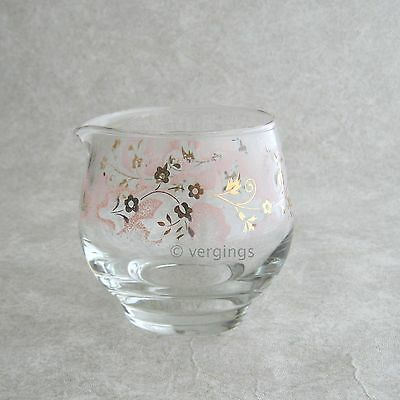 Libbey Glass Pink Cloud Mist Creamer Gold Roly Poly Round Vintage 1950s 1960s