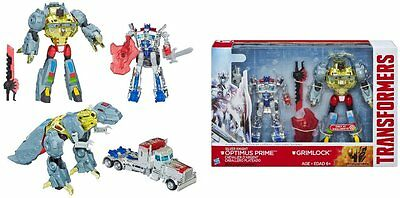 Transformers 4 Age Of Extinction - Silver Knight Optimus Prime & Grimlock Set!