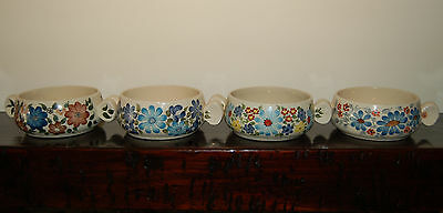 Set of 4 Vintage Hand Painted & Signed Off-white Bowls New Ships Free!