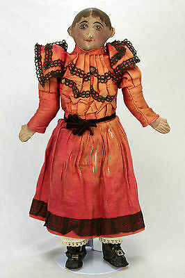 Antique American Unusual Painted Cloth Doll ca1900