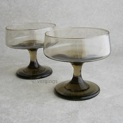 Libbey Glass Tawny Accent Set 2 Champagne or Tall Sherbet Dessert Glasses 1970s