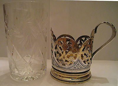 OLD RUSSIAN STERLING SILVER GILDED NIELLO TEA CUP HOLDER WITH CRYSTAL GLASS