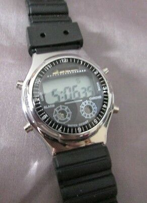 Shark Chomo Alarm Women's Digital Watch Water Resistant Black Band New Battery