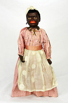 Antique German Paper Mache Black Character Doll ca1900