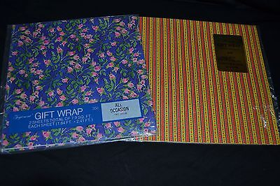 Lot of 2 Vtg Gift Wrap by Flourish & Amer Greeting ROSES FLOWERS NOS Sealed!