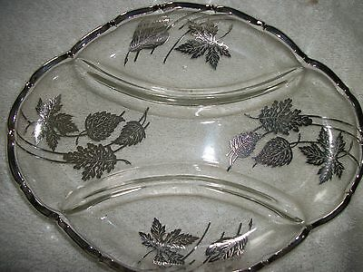 Silver Etched Glass Relish Dish