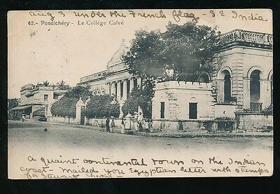 India PONDICHERRY French Settlement College Calve u/b PPC used c1903? to USA