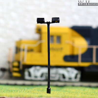 10 pcs HO Scale Model Lamppost Street Light SMD LED Made Courtyard Lamp #046