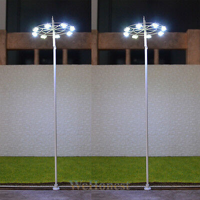 2 pcs O scale Plaza Lampposts Model lights SMD LEDs made Square Lamp #018